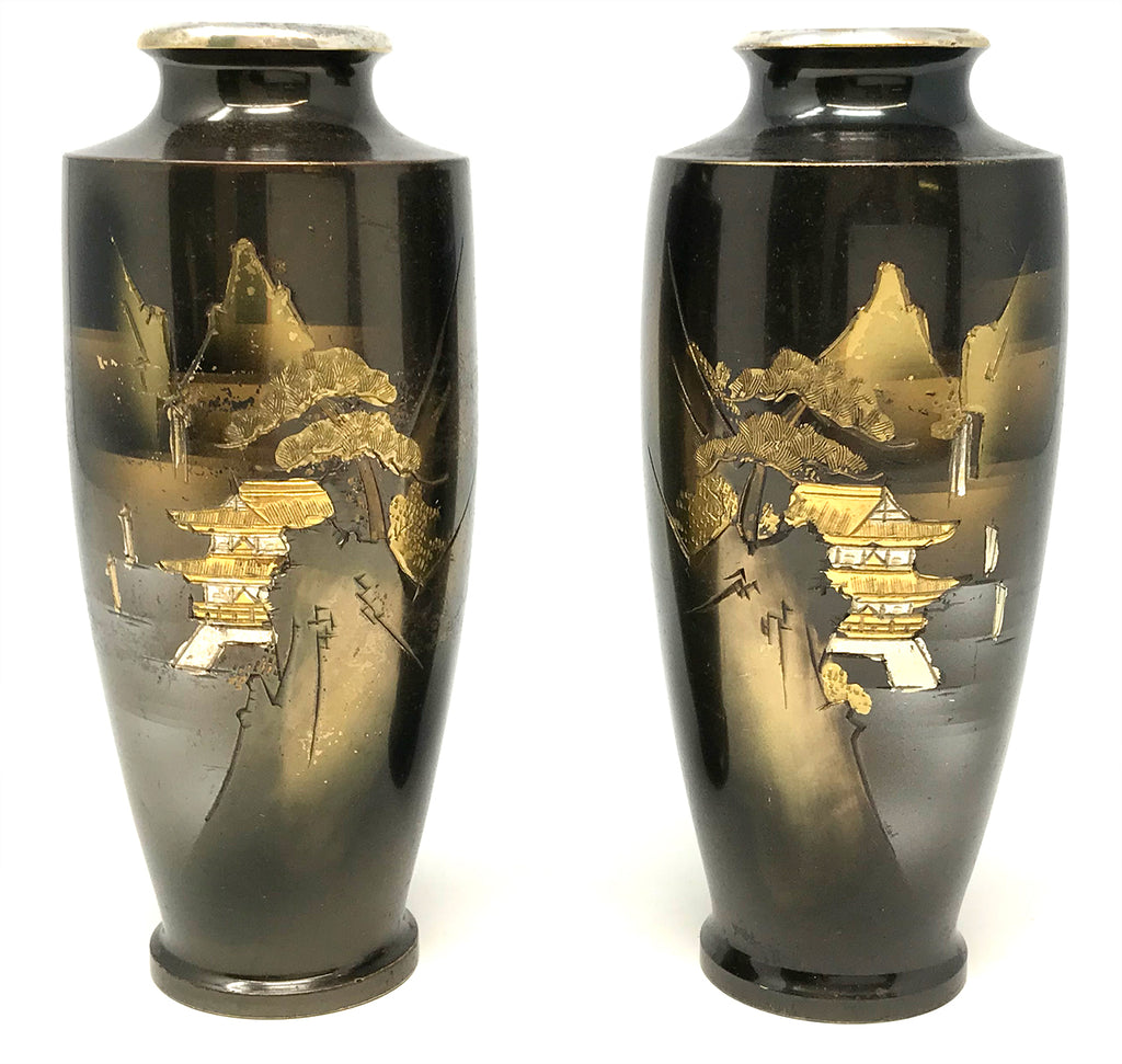 Japanese Enameled Inlaid Signed Vases