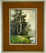 Oil painting of a landscape by J. Damstra