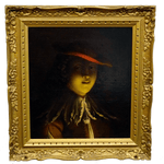 Early 1800 unidentified Painting Lady with Red Hat