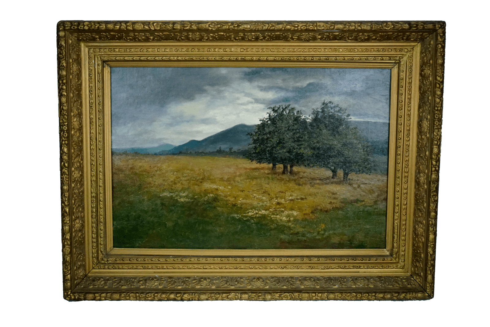 Antique Gilt Frame Landscape Painting Signed Brown 1886