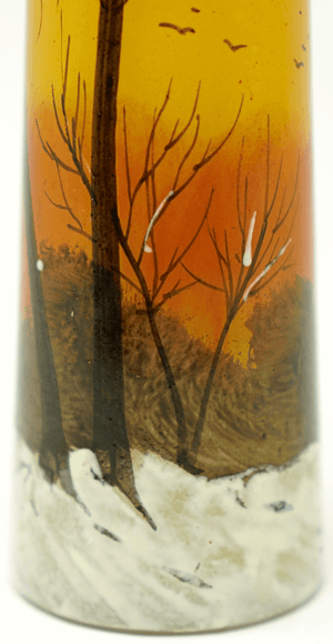 Legras Signed Winter Landscape Vase