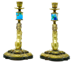 Bronze Lion Design Candlesticks