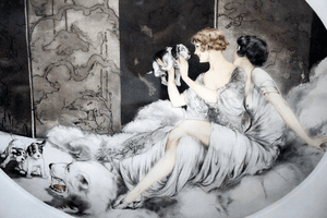 Louis Icart Colored Etching Puppies