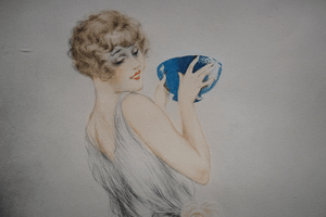 Louis Icart 1880-1950 Colored Etching Mealtime