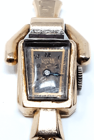 Vintage Lucien Picard 14k rose gold ruby diamond ladies watch
