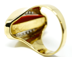 Modernist 18k yellow gold coral diamond ladies ring