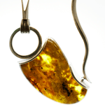 Modernist Baltic Amber Silver Necklace