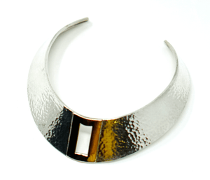 Modernist Sterling Silver 14k Gold Necklace