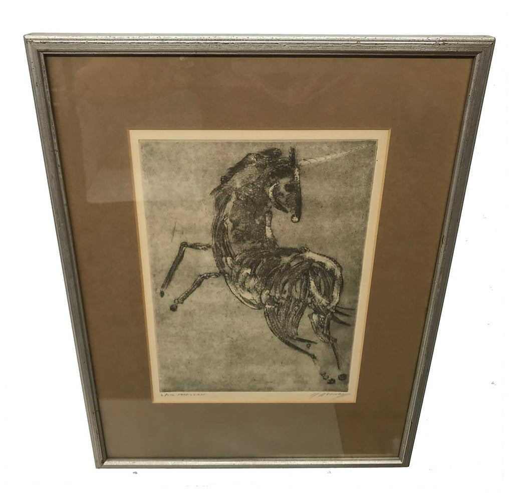 Canadian Moe Reinblatt Etching of a Unicorn