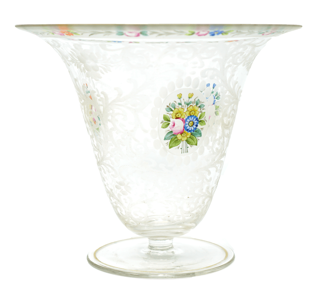 Mont Joye enameled flower design vase