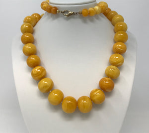 Natural Baltic Amber Cloudy Egg Yolk Bead Necklace