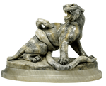 N. Torrini marble sculpture of a tiger and snake