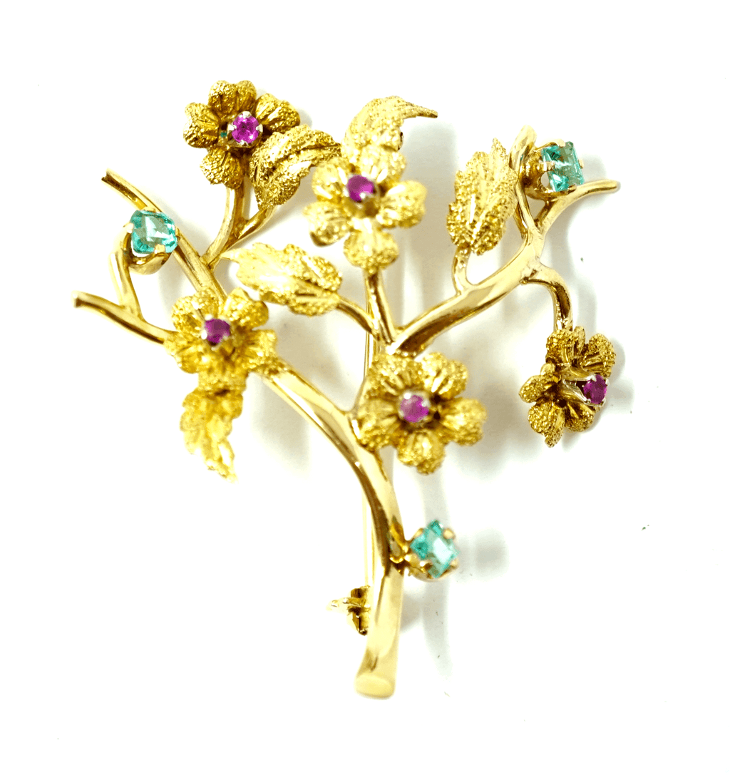 18k Solid Yellow Gold Brooch with Genuine Ruby & Aquamarine Stones