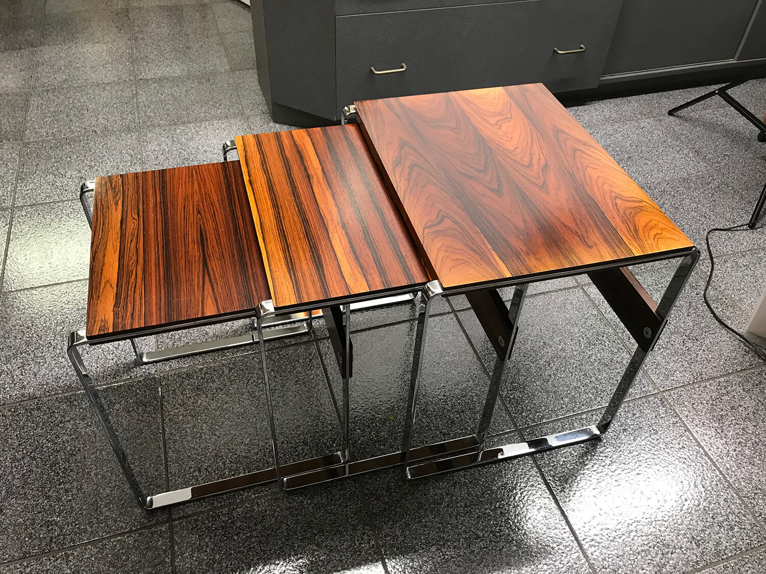Set of Three Scandinavian 1970 Rosewood Nesting Tables