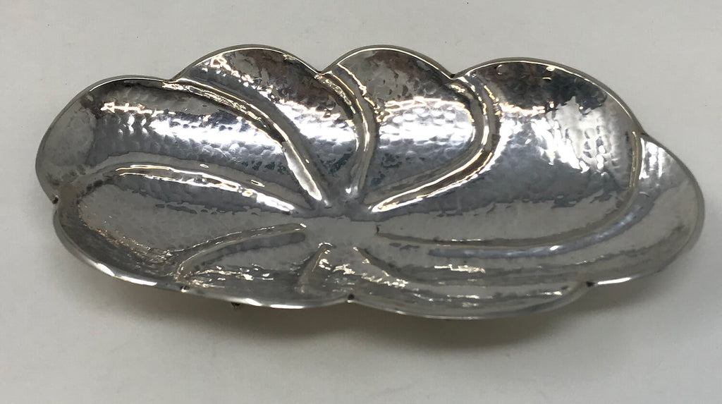 Hand Made Hammered 800 Silver Footed Bowl
