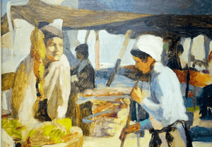 Spanish Domingo Falcon Lima Market Scene Painting