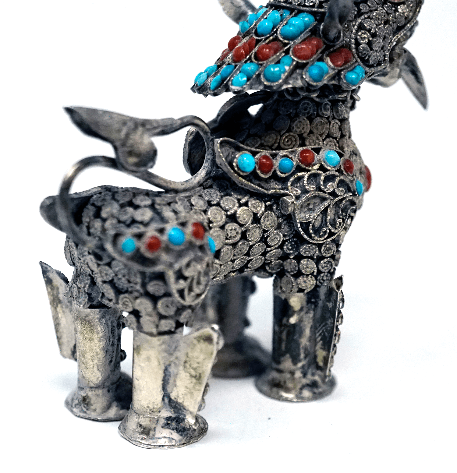 Chinese Sterling Silver Foo Dog Snuff Bottle