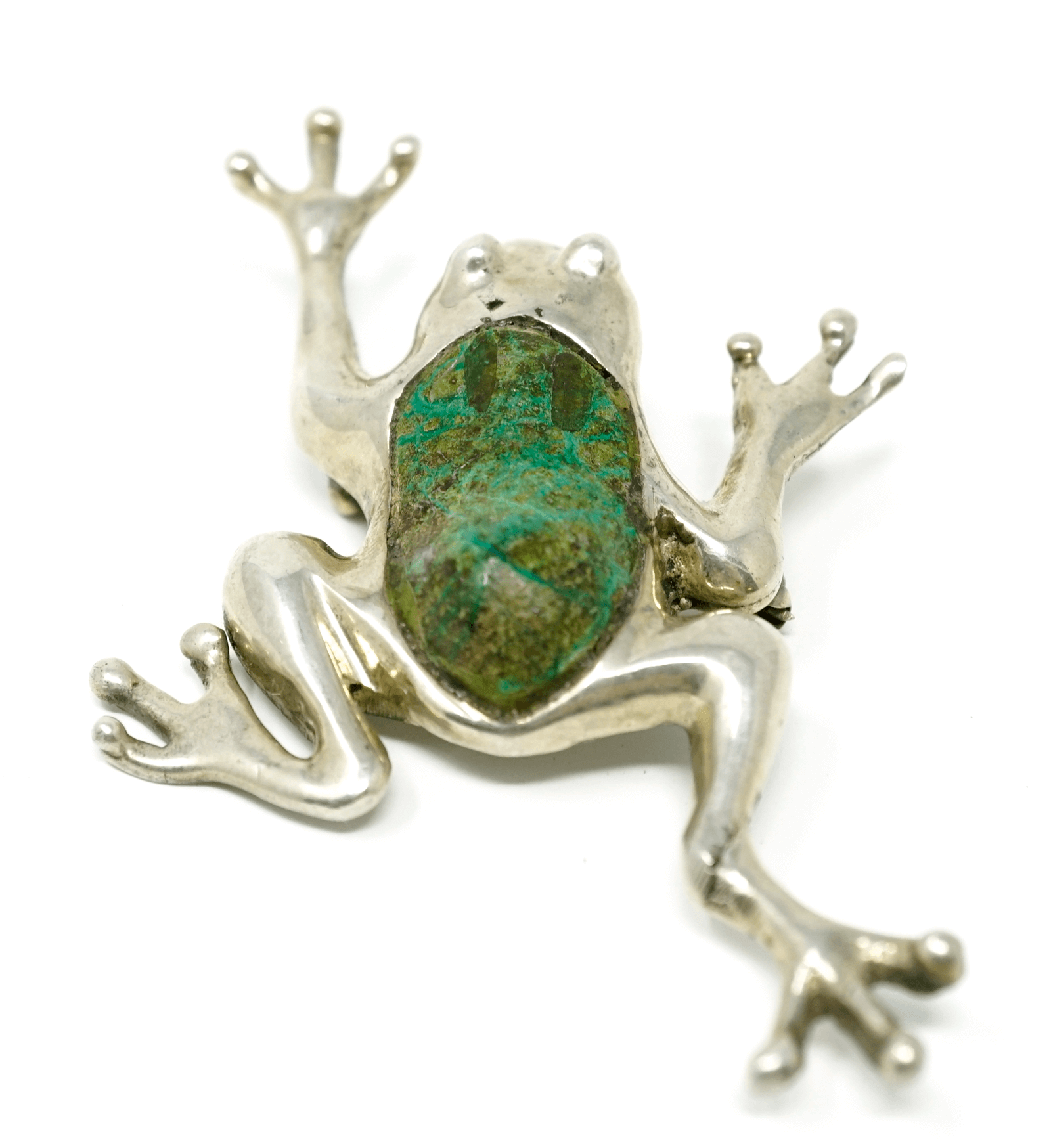Vintage sterling silver green stone frog pendant