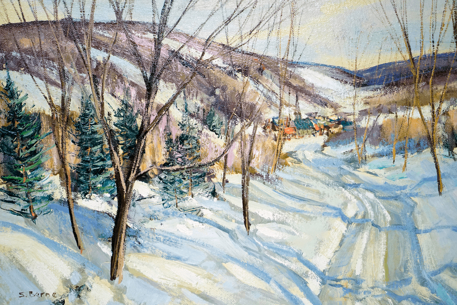Canadian Sydney Berne 1921-2013 Winter Scene Painting
