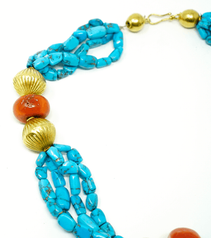 Turquoise Coral and 21k yellow gold necklace