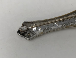 Victorian 14k White Gold Diamond Filigree Brooch