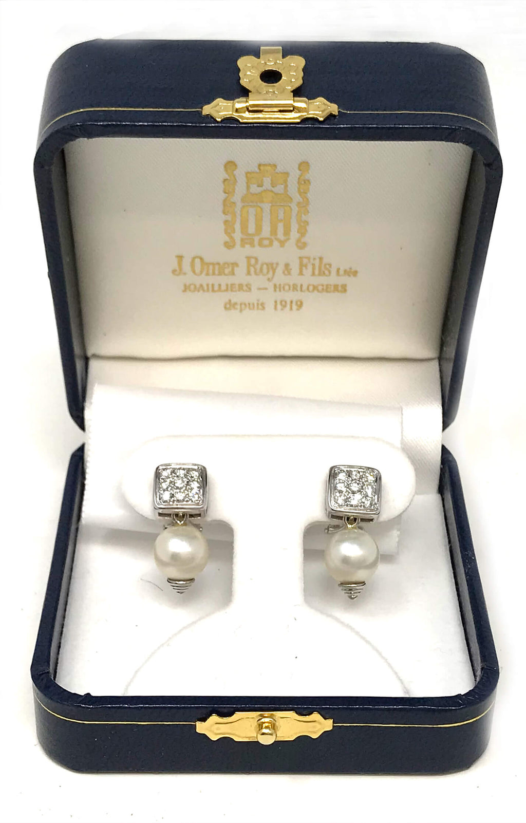 Vintage 18k White Gold & Diamond Earrings