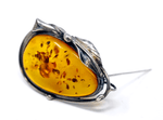 Vintage Baltic Amber Sterling Brooch