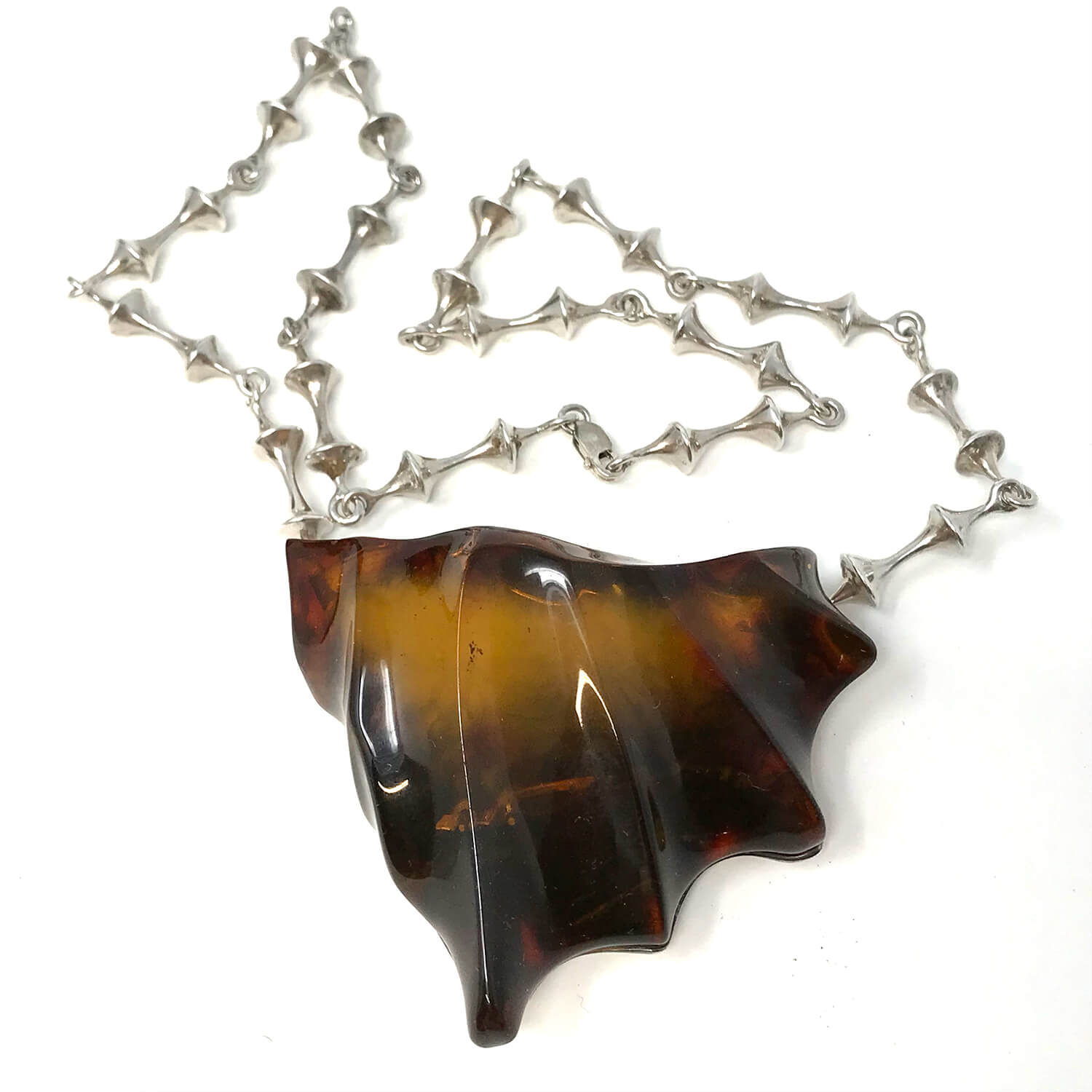 Vintage Silver & Baltic Amber Necklace