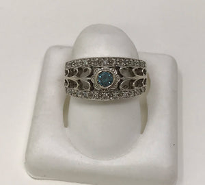 Vintage 14k White Gold & Blue Diamond Ladies Ring