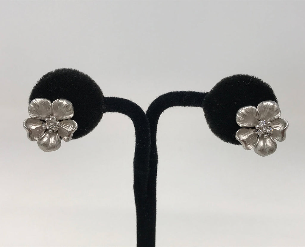 14k White Gold & Diamond Flower Earrings