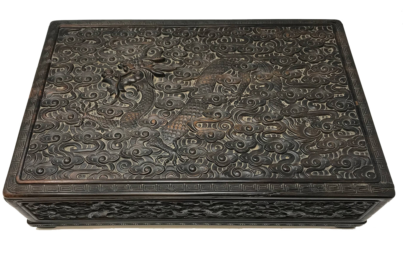 Qing Dynasty Zitan Hardwood Dragon Box
