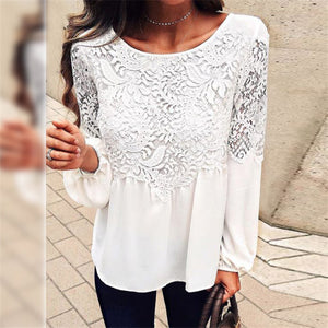 Long Sleeve Lace Chiffon Top