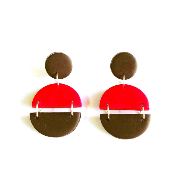 Pendientes Arizona rojo & negro | Red Power