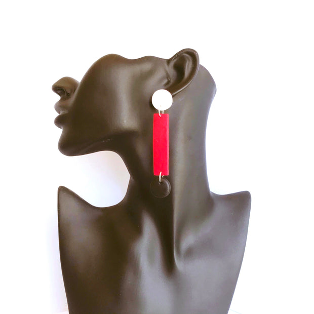 Pendientes Oxford Asimétricos | Red Power mangalabisuteriaartesanal.com