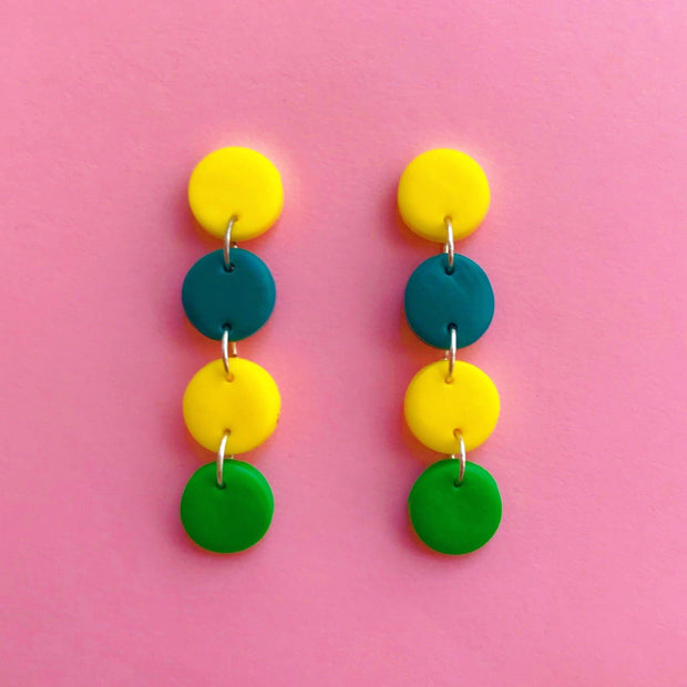 Pendientes Chicago Circulos 4M verde amarillo | Clasic