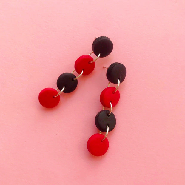 Pendientes Chicago Circulos 4S rojo & negro | Red Power