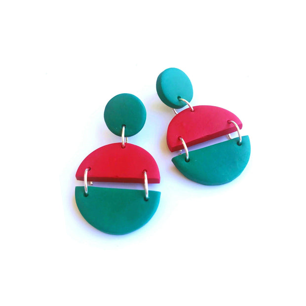 Pendientes Arizona rojo & verde | Red Power