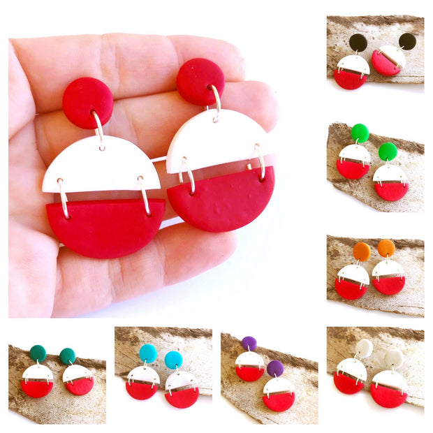Pendientes Arizona blanco & rojo | Red Power