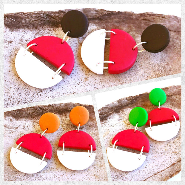 Pendientes Arizona rojo & blanco | Red Power