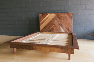 Mid-Century Modern Walnut Bed