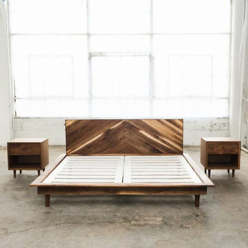 Mid-Century Modern Walnut Bed - Wall Woodworking