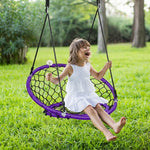 Net Hanging Swing Chair with Adjustable Hanging Ropes-Purple