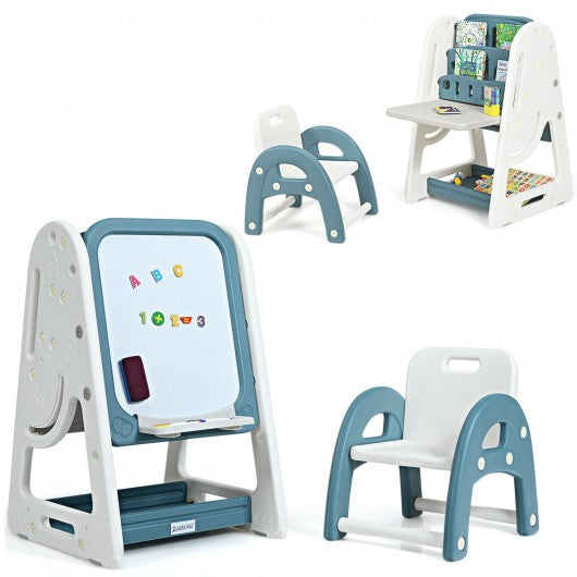 2 in 1 Kids Easel Desk Chair Set Book Rack Adjustable Art Painting Board-Blue