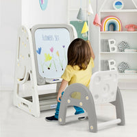 2 in 1 Kids Easel Desk Chair Set Book Rack Adjustable Art Painting Board-Gray