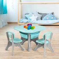 Children Kids Activity Table & Chair Set Play Furniture W-Storage-Blue