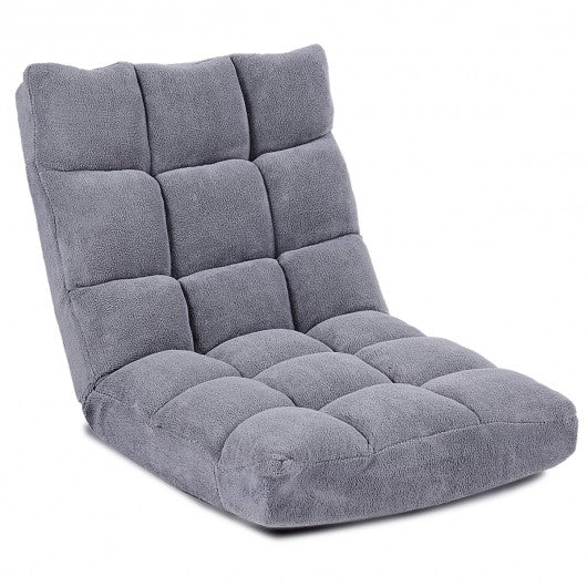 Adjustable  Cushioned Floor Chair-Gray