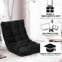 Adjustable Floor Chair Folding Lazy Gaming Sofa Chair-Black