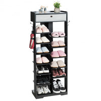 Wooden Free Standing Shoe Storage Shelf with Fabric Drawer-Black