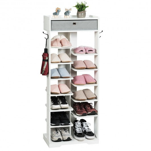 Shoe Storage Shelf with Fabric Drawer-White