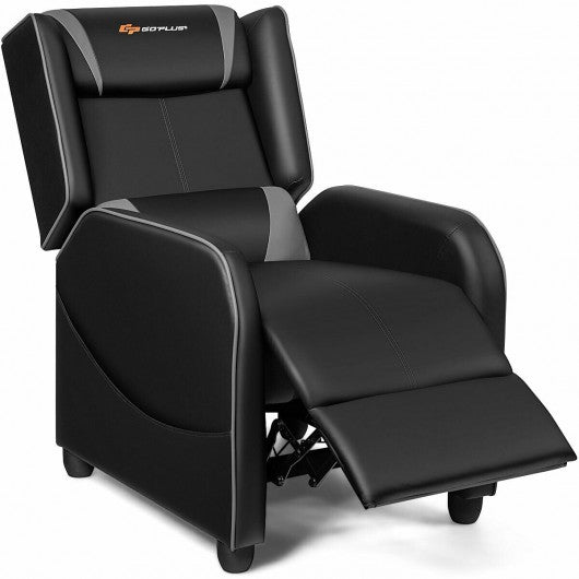 2 Point Massage Gaming Recliner Chair-Gray